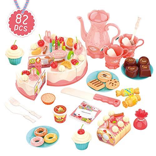 HERSITY 82 Stück Lebensmittel Spielküche Geburtstagstorte Kinderküche Set Schneide Kuchen Spielzeug für Kinder Rosa (Schneiden Set Kuchen)