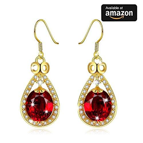 Jewelry rarità Fashion rosso cristallo goccia orecchini in oro da sposa gioielli