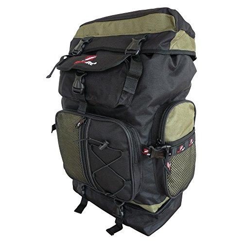 Zaini da campeggio di grandi dimensioni - 60 a 65 litri - grande zaino da borsa da viaggio - borsa da carico superiore - di peso leggero 1.1 kg - 59 cm x 33 x 20 - nero verde- roamlite rl05kg