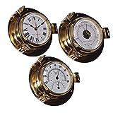 Delite Royal Mariner Bullauge Instrumente - Yachtuhr Barometer und Comfortmeter im Set - 90 mm