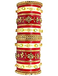 BB Creation Traditional Punjabi Red And Yellow Color Plastic Bangles For Women DSC004