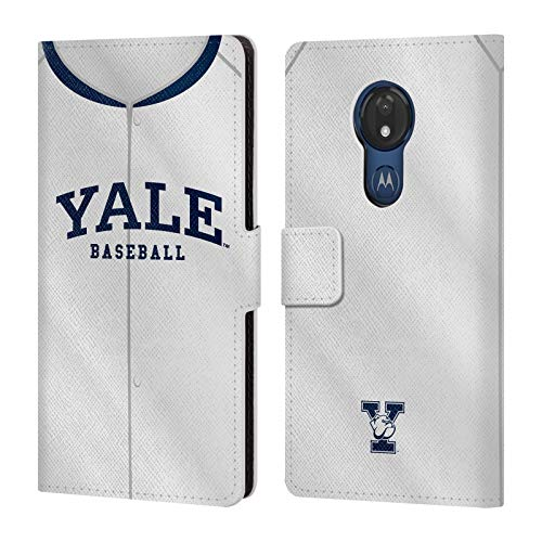 Power-baseball-jersey (Head Case Designs Offizielle Yale University Baseball 2017/18 Jerseys Leder Brieftaschen Huelle kompatibel mit Motorola Moto G7 Power)