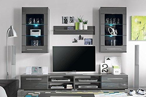 Avanti trendstore - cleo - parete da soggiorno in laminato di grigio-metallico lucido e opaco, illuminazione led compresa, dimensioni: lap 240x190x43 cm