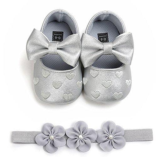 Innerternet scarpine in pu pelle prima infanzia - scarpe primi passi bimba - scarpe neonato con suole morbide e bowknot bimba neonata + 1pc hairban