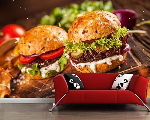 GBHL Selbst gemachter Burger mit Tapete papel de Parede des Kopfsalat- und Käselebensmittels 3d, Schnellimbissshop-Küchenrestaurant-Barwandgemälde, 300x210 cm (118.1 by 82.7 in)