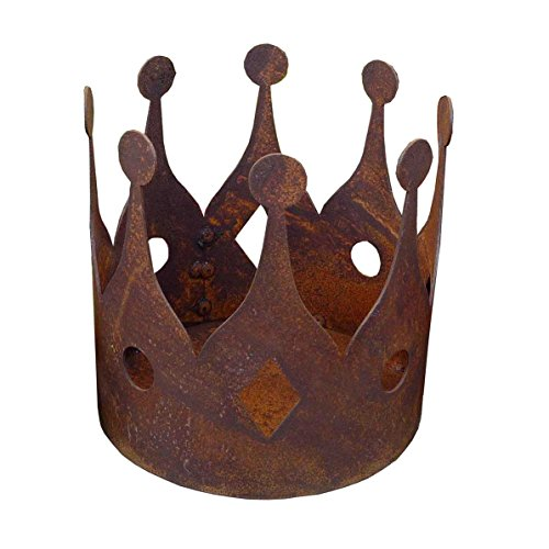 Edelrost Krone für den Garten | Metall | Rostoptik | zum Bepflanzen oder Dekorieren |mit Boden | 15x15 cm
