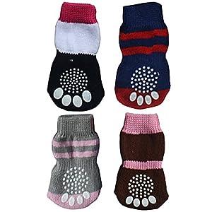 Beetest-4 PCS animal mignon Anti glissement des chaussettes tricot élastique pour chiot chien chat couleur aléatoire