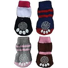 BEETEST Linda mascota Anti Slip elástico tejer calcetines para cachorro perro gato Color al azar,Juego de 4,Talla S