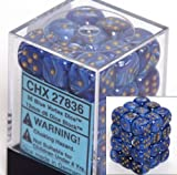 Dice Block with 36 d6 Vortex Blue w/gold
