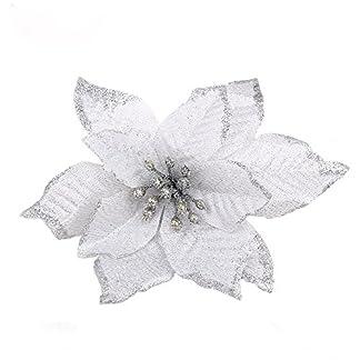 6 Piezas Purpurina Flor Artificial De Árbol De Navidad, Adornos Del Árbol De Navidad, Purpurina, Oro Flor De Pascua, 13Cm(5.1″)