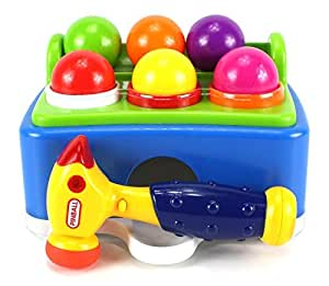 Shopaholic Pinball Hammer Table Ball Pounding Toy Playset 6 Multi Color Balls, Toy Hammer With Sound