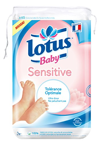 Lotus Baby Sensitive - Coton bébé peaux sensibles - Lot de 12 paquets de 65 cotons