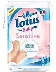 LOTUS BABY Sensitive Cotons Carrés Bébé Maxi 65 Pieces - Lot de 12