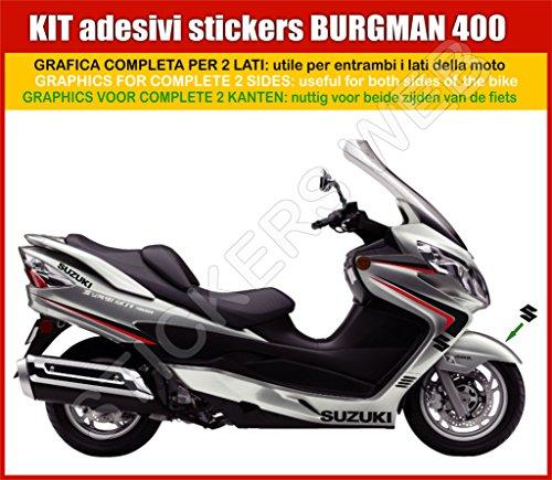0034-g Suzuki Burgman 400selbstklebende Aufkleber, grau, komplettes Set 1(Farben anpassbar)