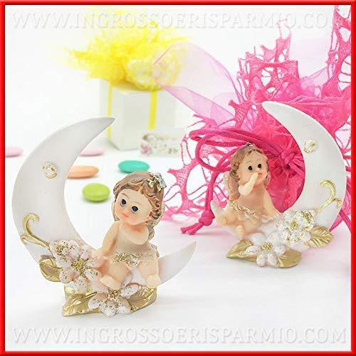 Ingrosso e risparmio fatina/folletto sulla luna con glitter statuina portafortuna in resina, bomboniere originali battesimo, comunione femmina (con confezione rosa)
