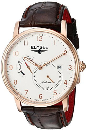 Elysee Priamos Mens Watch Rose Gold with Brown Leather Strap
