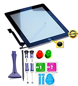 Primium? Komplett Touchscreen Glas Digitizer für Apple iPad 4 Display, Komplett mit Flexkabel, Homebutton - Schwarz inkl. Best NANO Profi 8-in-1 Werkzeugset - SCHWARZ BLACK - NEU