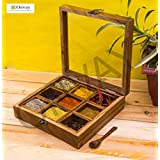 ONVAY Wooden Spice Box with Spoon for Kitchen | Spice Container for Kitchen | Wooden Masala Box | Spiece Jars | Masala Dabba