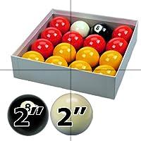 ClubKing - Juego de bolas de billar blackball, 16 bolas, con bola blanca y negra, 57 mm
