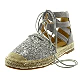 Angkorly Damen Schuhe Sandalen Espadrilles - Hohe - knöchelriemen - Glitzer - Gekreuzte Riemen - Seil Blockabsatz 2 cm - Silber 665-8 T 40