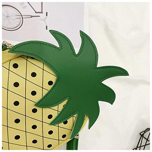 pelle ragazze sacchetto della sacchetto della Giallo artificiale Longra bowling del stile di sveglia delle di frutta UIPWwgxq6W