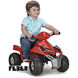 FEBER- Quad Racy Veicolo, 6 V, Colore Rosso, 800011252
