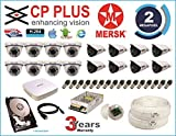 MERSK CP Plus 16Ch HD Dvr and Mersk Full HD 2MP CCTV with Accessories (White)