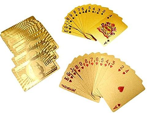 ISABELLE Cartes à Jouer Jeu 24K OR Poker Cartes de jeu de luxe carte de poker Paquet Cartes Jeu/Dollar