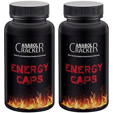 2X Energy Caps, 60 Kapseln, Hardcore Energie Booster, Taurin, Guarana, Koffein, Ausdauer