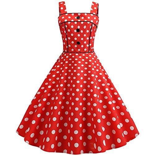 jx-dress Vintage Print große Schaukel Rock Gurt Kleid Sommer süße Student Jugend, rote Welle Punkt, XXL Süße Jugend
