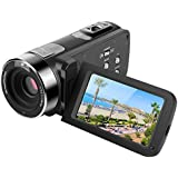 "Digital Video Camera 301HS 2.7"" FHD Touch Screen DV Camcorder 16X Zoom Digital Video Recorder Night Vision Camcorder With 2 Rechargeable Batteries Control Romote And Support 270 Degree Rotation Black"