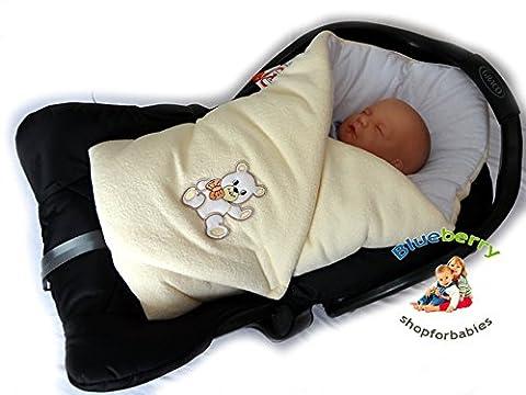 BlueberryShop Couverture Nid d'ange Sac de couchage Polaire pour SIÈGE DE VOITURE pour Bébé CADEAU ( 0-3m ) ( 78 x 78 cm ) Blanc