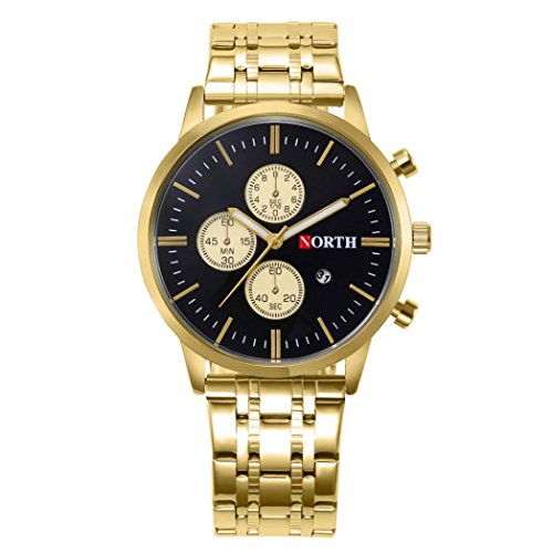 OverDose Nord Kalender Quarz Armbanduhr Edelstahl Armband Mann Uhr (H)