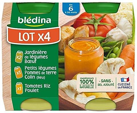 Blédina Pack de 2 Jardinière de Légumes Boeuf + 1 Tomates Riz Poulet + 1 Petits Légumes Pommes de Terre Colin 800 g - Lot de 3 Packaging Aléatoire