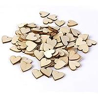 Togather® 50 pezzi 40mm non verniciata in bianco cuore naturale legno fette per DIY mestieri abbellimenti ornamento (colore di legno)