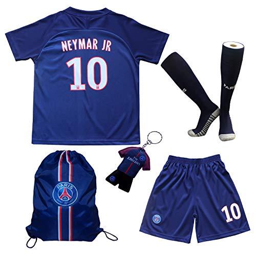 TMB Apparel 2019/2020 Paris #10 Neymar JR. Heim Kinder Fußball Trikot Hose und Socken Kindergrößen (Heim, 24 (7-8 Jahre))