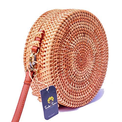 Timber Twine Rattan-Tasche mit verstellbarem Riemen, für Damen, handgewebt, mit Strohhalm, für Strand, Sommertasche, Holzschnur