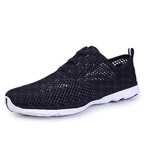 Mens Water Shoes Mesh Slip On Trainers Breathable Aqua Quick Drying Shoes(Black-K,11 UK/46 EU)