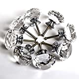 ZJchao 8pcs 40mm Türknauf-Griffe für Glas Glas klar Schubladen Türgriff Diamant