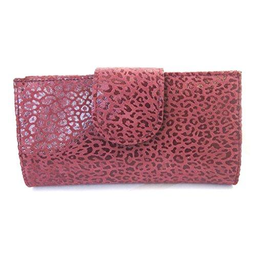 Leder-scheckheft inhaber 'Frandi'bordeaux (leopard). -