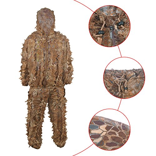HYFAN Ghillie Anzüge 3D Blätter Wald Camouflage Kleidung Outdoor Army Military Camo Kleidung für Jungle Jagd, Paintball, Airsoft, Wildlife Fotografie (Rot)