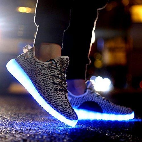COOLER®Cuir Chaussures LED clignotante rechargeable basket lumineuse chaussures de sport en couleur noir/blanc pour Femme/Homme gris