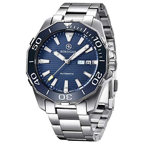 BERSIGAR Herren-Automatikuhren - Edelstahl Schwarzes Zifferblatt Business Casual Armbanduhr für Männer