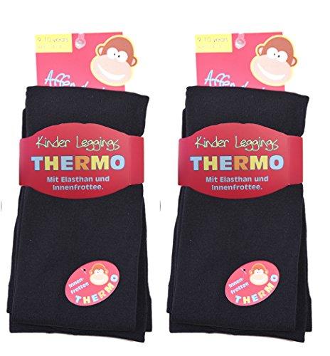 2 Stück Kinder Thermo Leggings 9-025/1 (122/128, 2x schwarz) thermoleggings rote kinder-leggings thermo-leggings mädchen thermoleggings kinder kinder-leggings legging kinder jungen