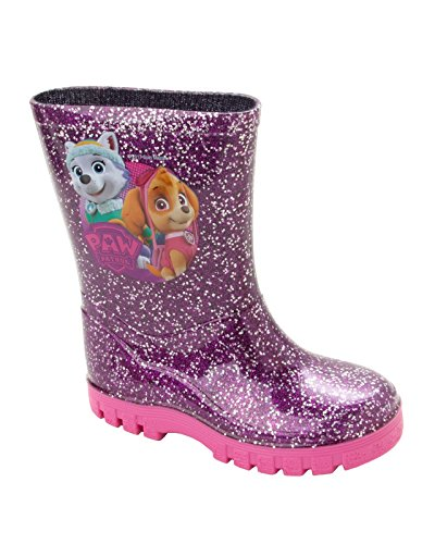 Girls PAW Patrol Purple Glitter Wellies Wellington RAIN Snow Boots UK Size 5-10