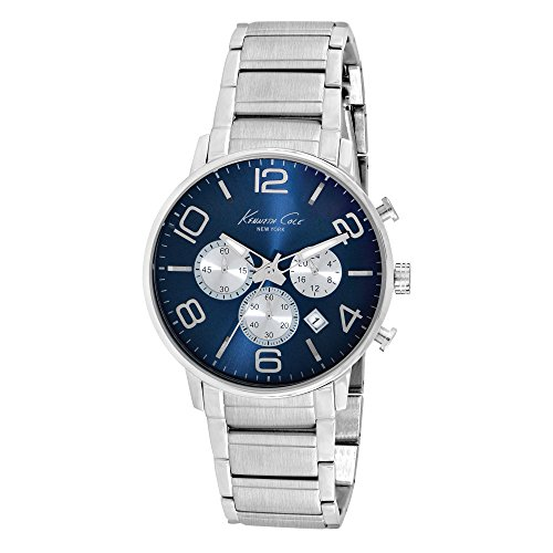 Kenneth Cole New York Mens Watch Sport Mens Silver Stainless Steel Blue