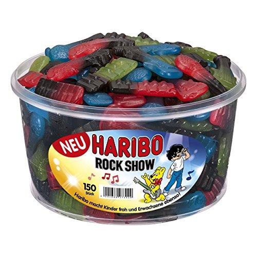 Haribo Rockshow - Weingummi, Fruchtgummi mit Lakritz, 150 Stück, 1200 g Dose