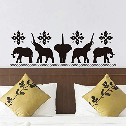 Looyy Fünf Elefanten Silhouette Wandaufkleber Für Wohnzimmer Diy Tier Elefant Wandkunst Removable Vinyl Dekoration 123 * 42 Cm