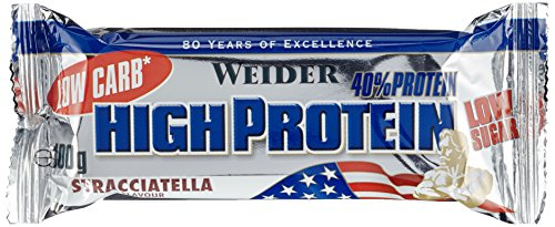 Weider 40{21dfa777b0b2c07cc9c12876ca6b4805b755a00116a2cc47d50bc5e46be176d6} Protein Bar, Stracciatella, 1er Pack (20x 100g Riegel)