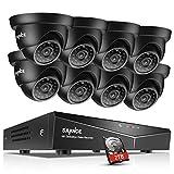 SANNCE Kit de Surveillance 16CH DVR avec 8 Caméras Dômes 720P HD pour l'Extérieur Full HD Etanches Vision Nocturne Détection de Mouvement Système de surveillance 2TB HDD